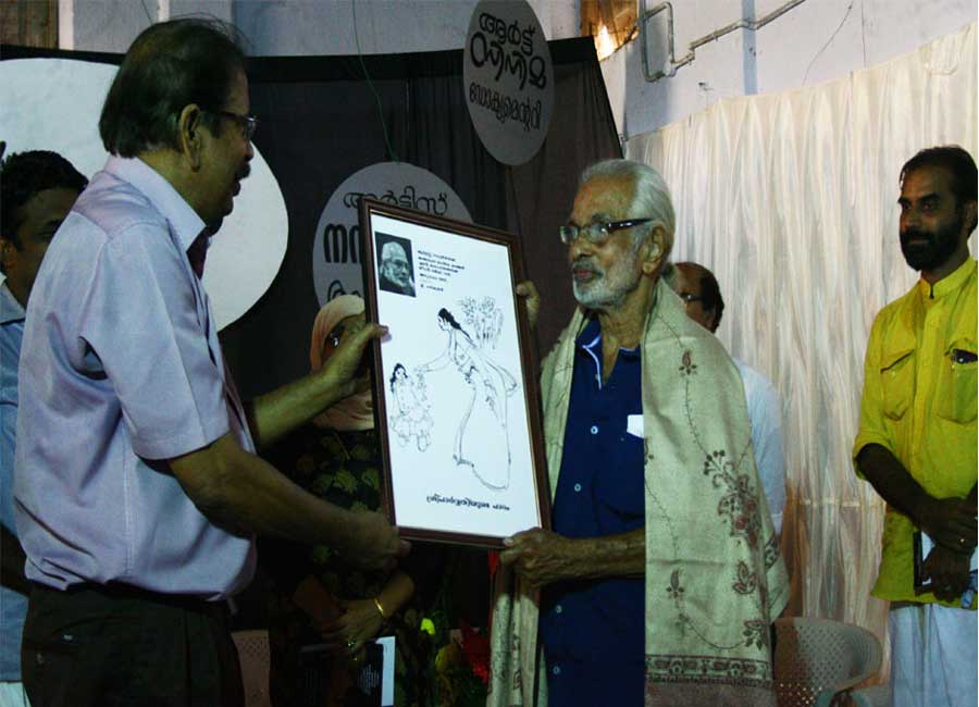 E Harikumar with Artist Namboothiri, painter and sculptor, known for his line art and copper relief works. He has done illustrations for many Malayalam writers.
