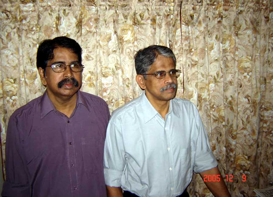 With brother Dr. E. Divakaran snapped in 2005