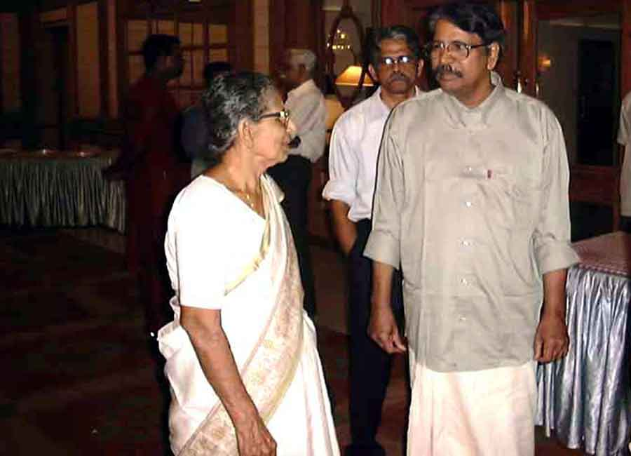E Harikumar with Dr. M. Leelavathi, well-known critic.