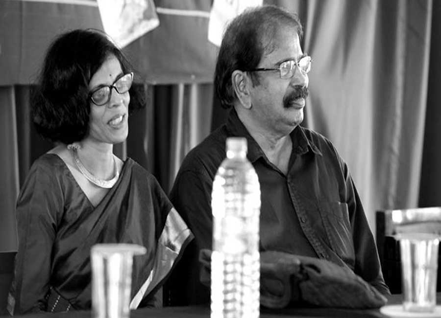 E Harikumar with  short story writer Priya AS in a book release ceremony organised by Saiketham books.